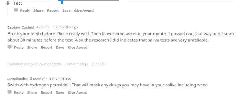 peroxide before saliva drug testing reviews
