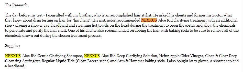 nexxus aloe rid for THC detox